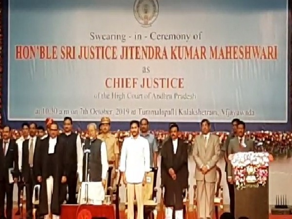Justice Jitendra Kumar Maheshwari oath taking ceremony as Chief Justice of Andhra Pradesh High Court on Monday.