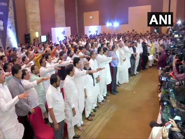 Congress, NCP and Shiv Sena MLAs took oath at Hotel Grand Hyatt in Mumbai on Monday