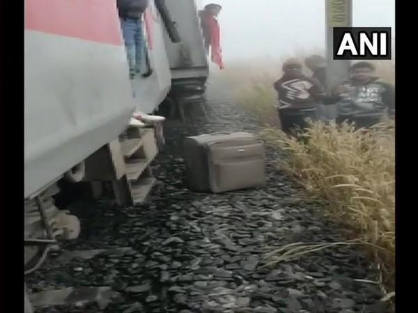 Lokmanya Tilak Express hits a guard van of a goods train near Salagaon at about 7 am today. [Photo/ANI]