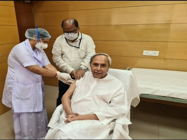 Odisha CM Naveen Patnaik taking his first dose of COVID-19 vaccine on Monday.