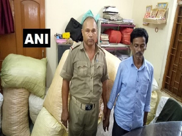 Excise department seizes cannabis and arrests one person in Bhubaneswar, Odisha on Monday. Photo/ANI