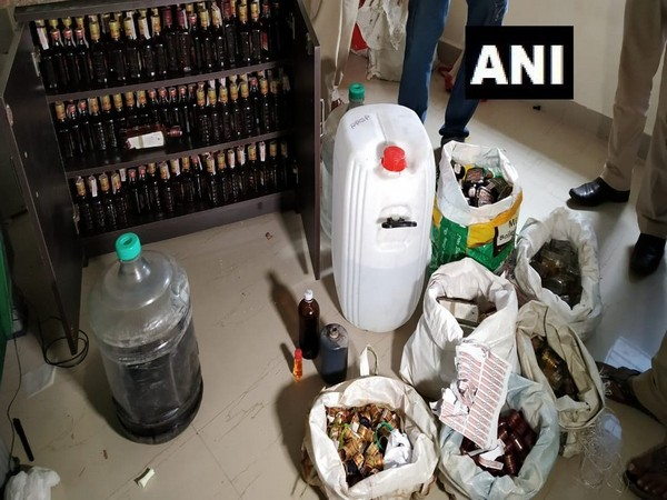 The police seized the materials used to make illicit liquor in Dhauli on Sunday. Photo/ANI