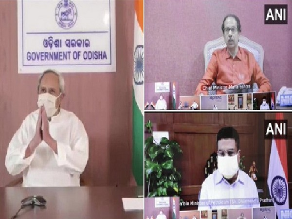 Odisha Chief Minister Naveen Patnaik on left, Maharashtra Chief Minister Uddhav Thackeray (on top right side) and  Union Minister Dharmendra Pradhan (on bottom right)