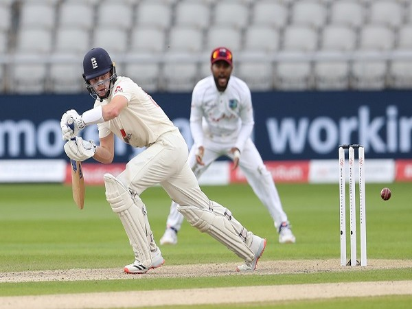 England's Ollie Pope in action during the first day of third Test in Manchester.