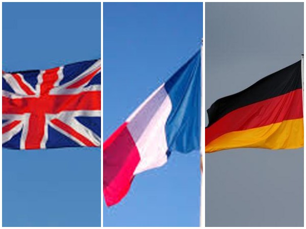 The United Kingdom, France and Germany flags
