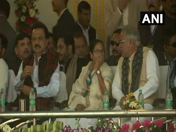 Opposition leaders at Jharkhand Chief Minister Hemant Soren's oath-taking ceremony in Ranchi on Sunday. Photo/ANI