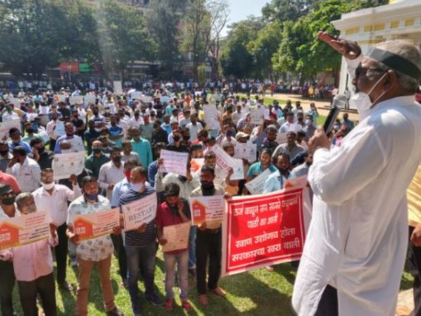 Goa mining dependents holding placards in Feb 8 rally