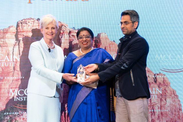 IPS officer Chhaya Sharma while recieving McCain Institute Award for Courage and Leadership