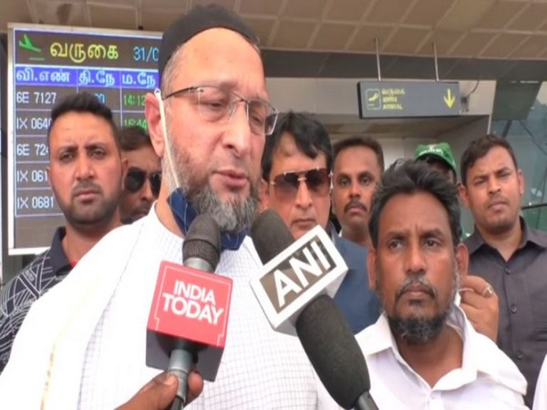 AIMIM chief Asaduddin Owaisi speaking to reporters in Trichy on Wednesday.