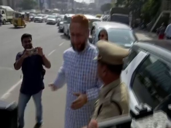 AIMIM president Asaduddin Owaisi in Hyderabad on Wednesday. Photo/ANI