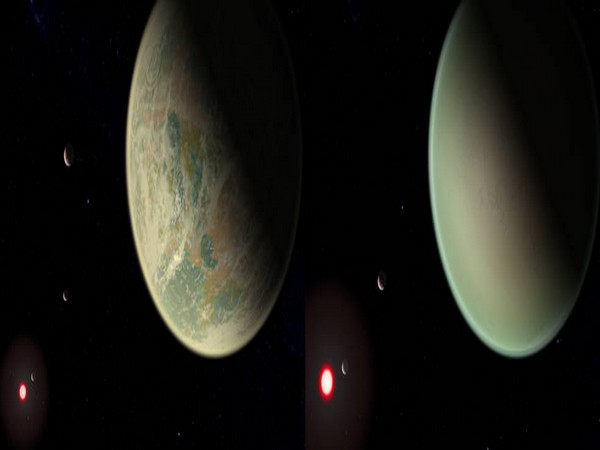 Conceptual image of water-bearing (left) and dry (right) exoplanets with oxygen-rich atmospheres (Image Source: NASA)