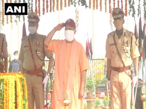 Uttar Pradesh Chief Minister Yogi Adityanath paying tribute to police personnel who lost their lives on duty. (Photo/ANI)