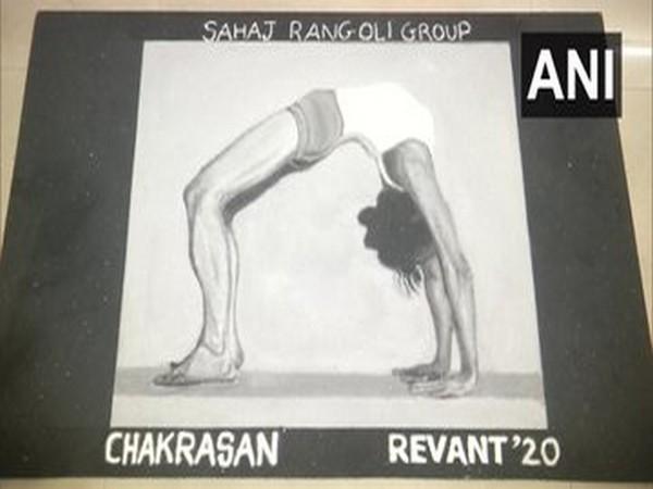 Artists of Sahaj Rangoli Group on Sunday made rangolis on the International Yoga Day in Vadodara.