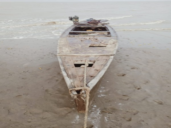 The wooden Pakistani fishing boat seized by the BSF on Monday