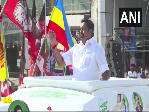 Tamil Nadu Chief Minister Edappadi K Palaniswami speaking during an election rally in Tiruvannamalai on Sunday. Photo/ANI