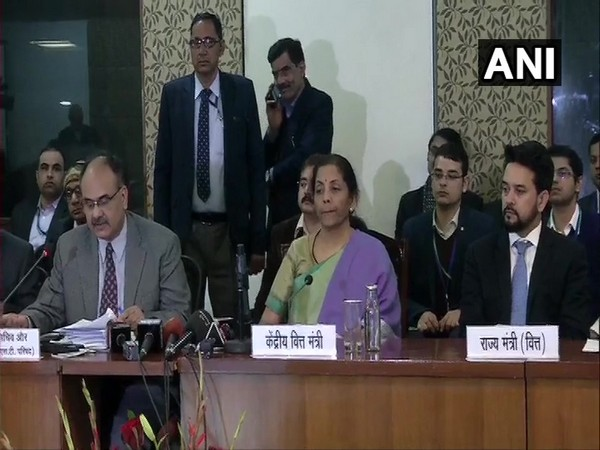 Revenue Secretary AB Pandey speaking after the meeting.