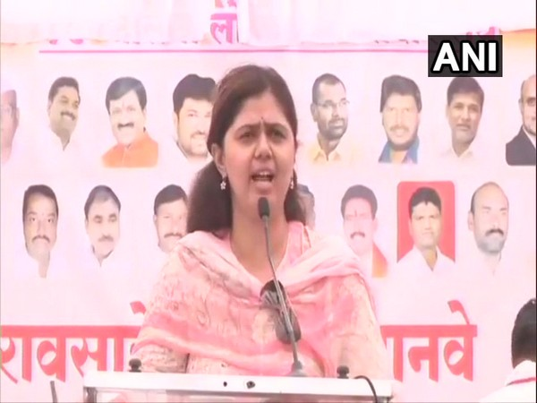 Maharashtra Minister Pankaja Munde addressing a gathering in Jalna on April 21.