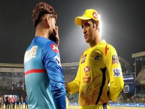 Delhi Capitals skipper Rishabh Pant and CSK captain MS Dhoni (Image: Ravi Shastri's Twitter)