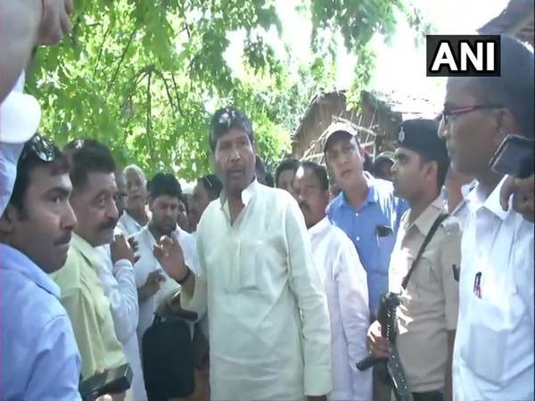 LJP MP Pashupati Kumar Paras at Harivanshpur village on Sunday. Photo/ANI