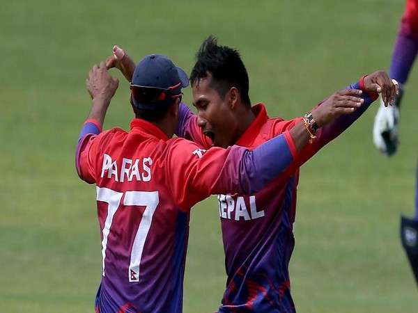 Nepal skipper Paras Khadka celebrating with teammate after securing their first ODI triumph (Photo/ICC Twitter)