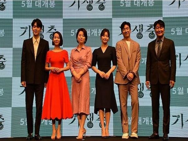 The cast of the South-Korean movie 'Parasite'