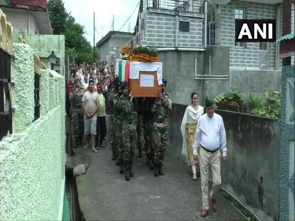 Locals bid a tearful adieu to the Lieutenant Colonel Rajneesh Parmar in Palampur on Sunday