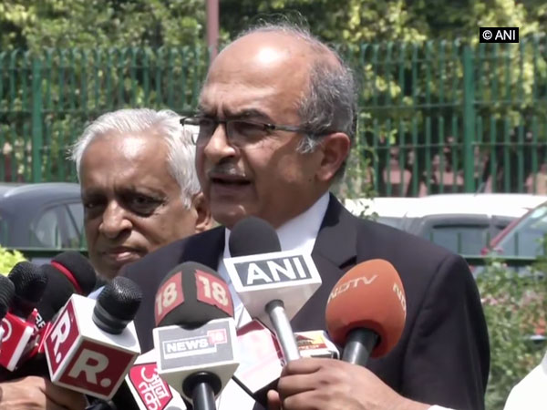 Senior Advocate Prashant Bhushan speaking to reporters in New Delhi on Friday. Photo/ANI