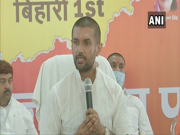 LJP President Chirag Paswan addressing a press conference in Patna on Monday. [Photo/ANI]