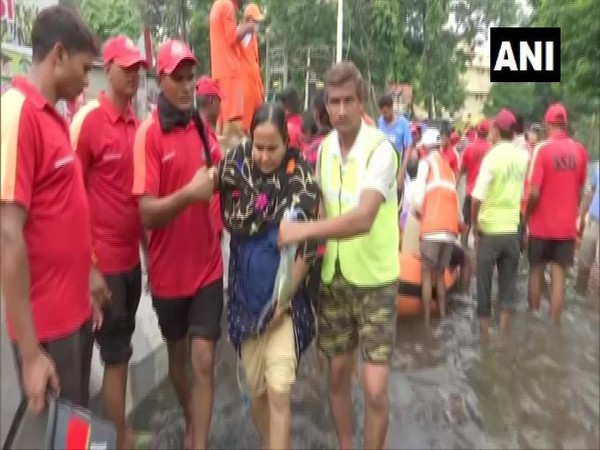 Patients being rescued by NDRF and SSB in Rajendra Nagaer on Thursday. (Photo/ANI)