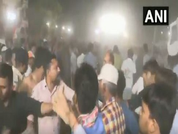 A scuffle broke out at Congress leader Hardik Patel's public meeting in Gujarat's Ahmedabad district on Saturday. Photo/ANI
