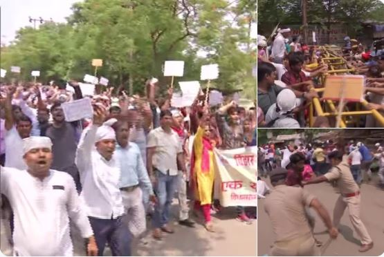 Computer teachers protesting outside Vidhan Sabha in Patna were lathi-charged by the police. Photo/ANI