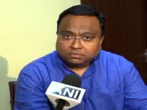 BJD spokesperson Sasmit Patra talking to ANI at Bhubaneswar on Sunday.