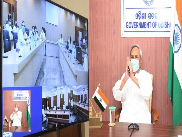 Odisha Chief Minister Naveen Patnaik holding meeting.