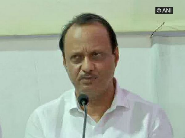 NCP leader Ajit Pawar speaking at a press conference in Mumbai on Sunday. Photo/ANI