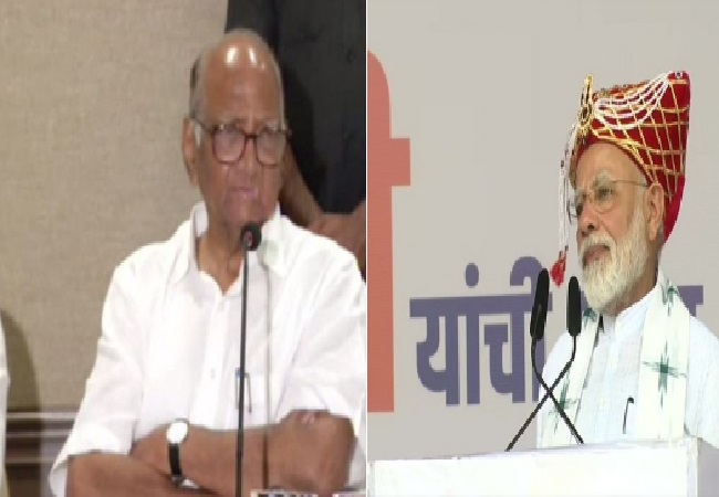 NCP chief Sharad Pawar (left) with  Prime Minister Narendra Modi