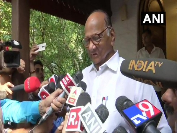 NCP chief Sharad Pawar speaking to reporters in Mumbai on Tuesday.