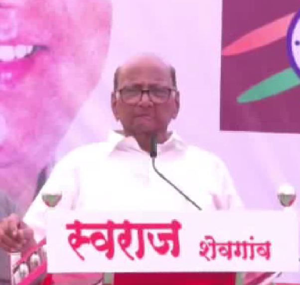 NCP chief Sharad Pawar addressing a public rally at Ahmednagar on Friday