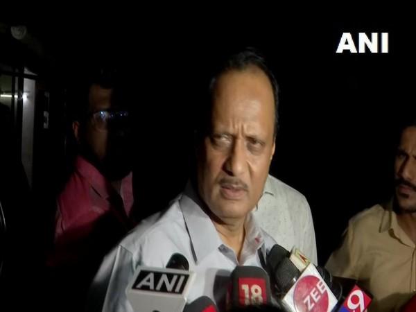 NCP leader Ajit Pawar talking to media persons in Mumbai on Monday