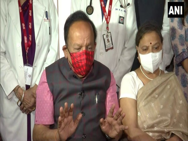 Union Health Minister Harsh Vardhan addressing press conference after getting Covaxin. (Photo/ANI)