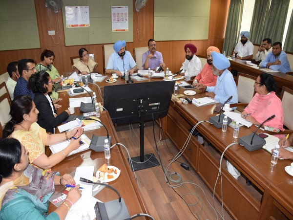 Punjab Health & Family Welfare Minister Balbir Singh Sidhu in meeting with officials at Chandigarh on Saturday