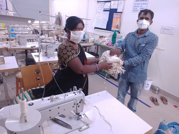 Women at GMR Varalakshmi Foundation Hyderabad centre are stitching masks and PPE to fight pandemic [Photo/ANI]