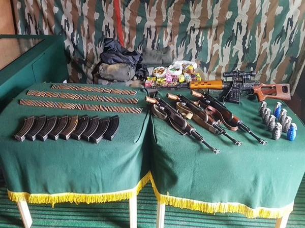 3 AK rifles, a sniper rifle, 8 grenades & other warlike stores were recovered. (Photo courtesy: Chinar Corps)