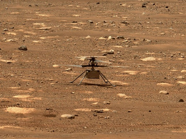 Visual of NASA's Mars Helicopter's  first flight attempt Sunday
