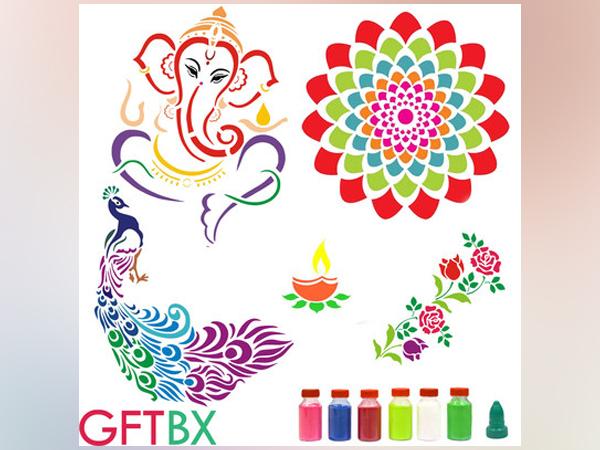 Diwali Rangoli Stencils Combos with Colors by GFTBX