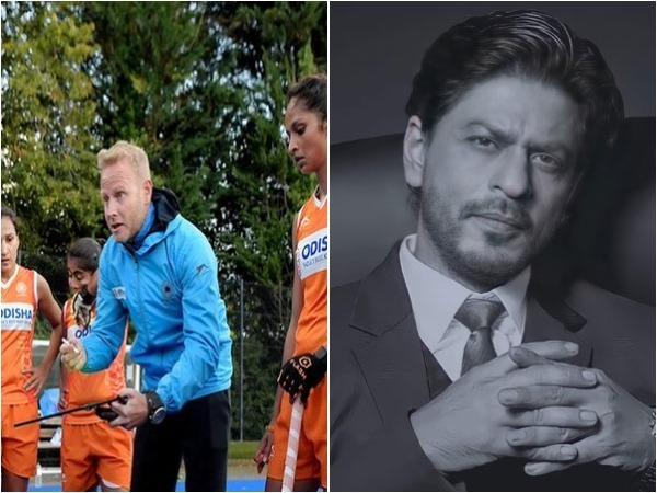 Women's coach Sjoerd Marijne (L) and Shah Rukh Khan (R)