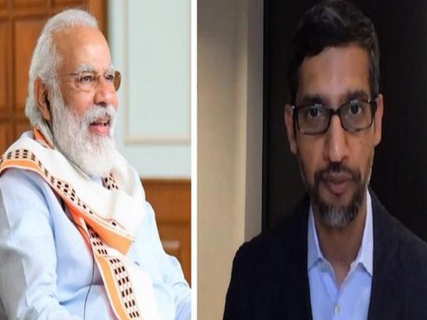 Prime Minister Narendra Modi (left) and Google CEO Sundar Pichai (right).