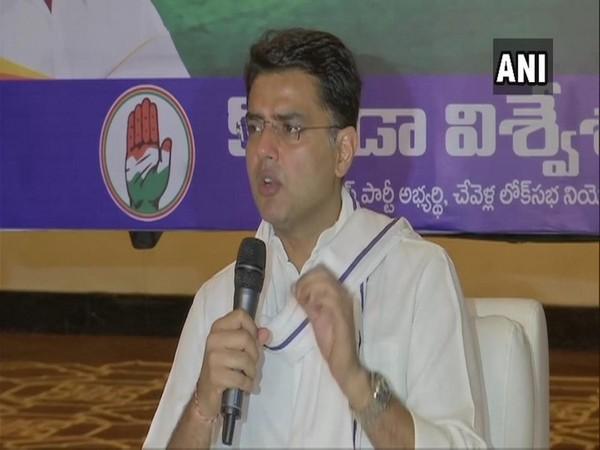 Rajasthan Deputy Chief Minister Sachin Pilot while addressing a public gathering in Telangana on Monday. Photo/ANI