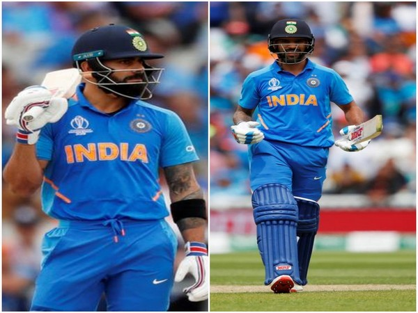 Indian skipper Virat Kohli (L) and opening batsman Shikhar Dhawan (R)