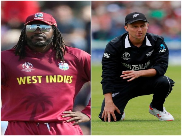 West Indian batsman Chris Gayle and New Zealand pacer Trent Boult (L-R)