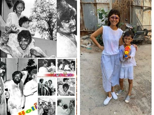 Collage of throwback Holi pictures of Amitabh Bachchan and Aamir Khan's wife Kiran Rao with son Azad Rao Khan (Image source: Instagram)